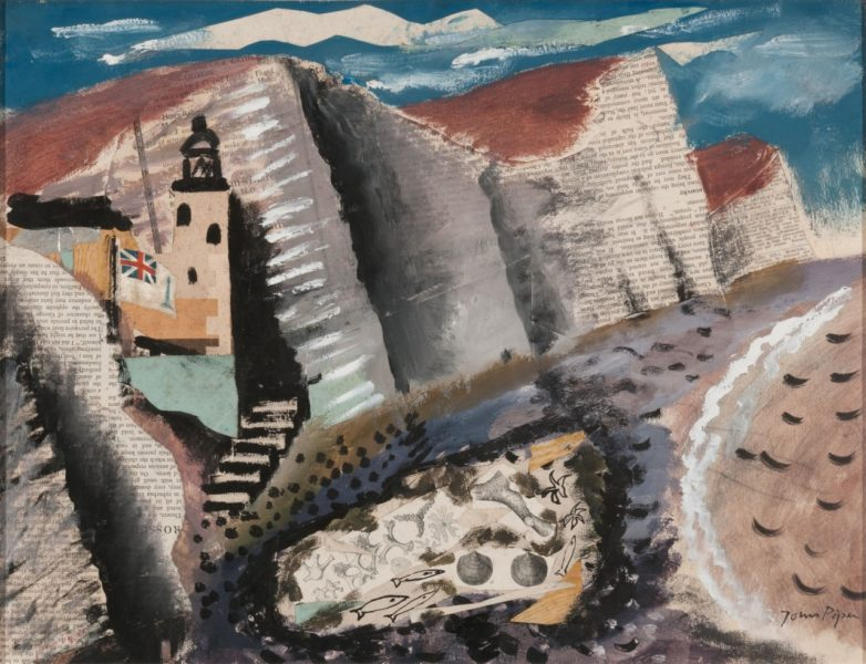 John Piper, Beach and Star Fish, Seven Sister's Cliff, Eastbourne, 1933-34. Gouache, pen and ink with collage of paper and fabric, 38.4 x 49.8 cm. Image courtesy of Jerwood Gallery