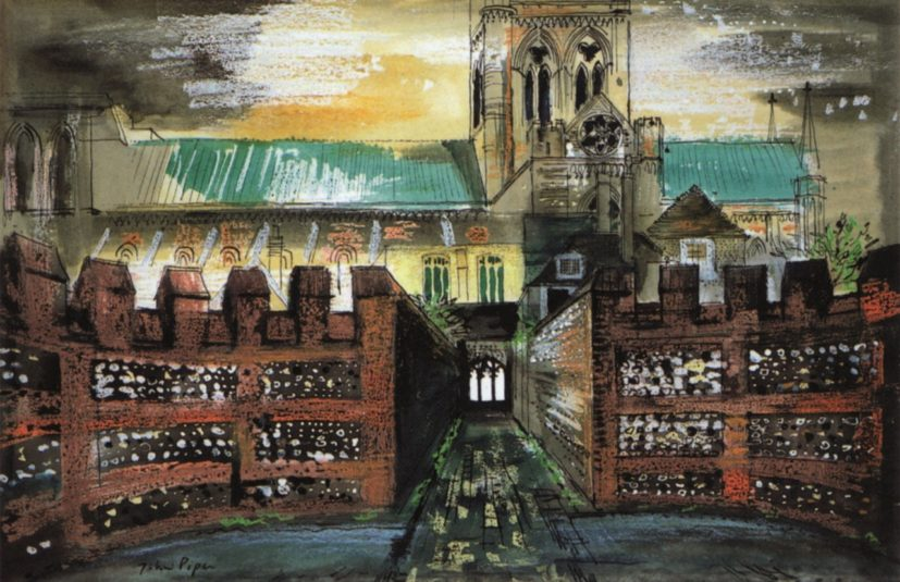 John Piper, View of Chichester Cathedral from the Deanery, 1975. Ink, watercolour and crayon on paper, 46.1 x 63.8 cm. © The Piper Estate / DACS 2016