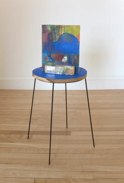 Victoria Morton, Untitled, 2010, Oil on canvas, wood, tape, metal stand, 80 x 40 x 25 cm. Courtesy the artist and The Modern Institute/ Toby Webster Ltd, Glasgow.