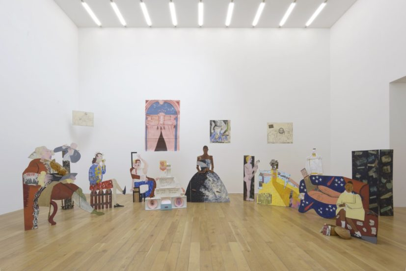 Lubaina Himid, A Fashionable Marriage, 1986. Exhibition view, The Place Is Here, Nottingham Contemporary, 2017. Courtesy of the artist and Hollybush Gardens. Photo Andy Keate.