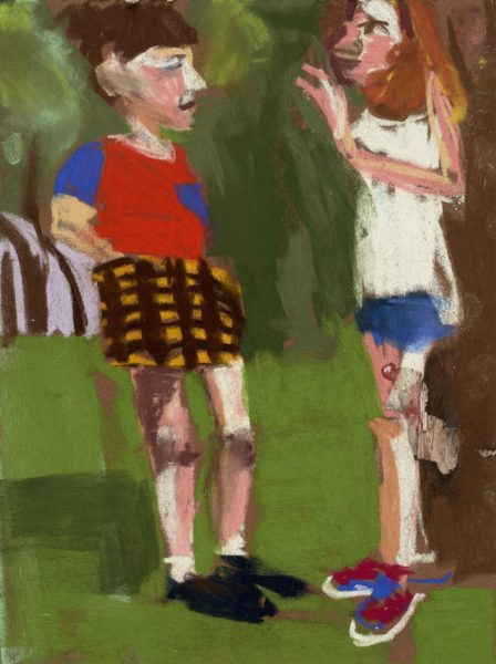 Esme and Alba in Madison Square Garden, 2015. Pastel on paper board, 37.8 x 47.6 x 3.7 cm. Courtesy of the artist and Victoria Miro