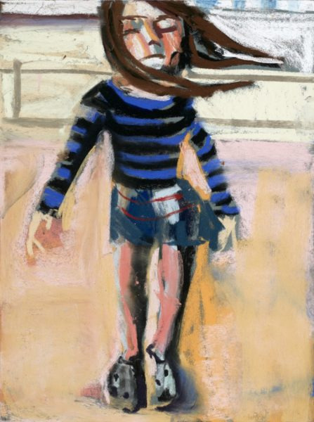 Esme on the Beach, 2015. Pastel on paper board, 40 x 30 cm. Courtesy of the artist and Victoria Miro