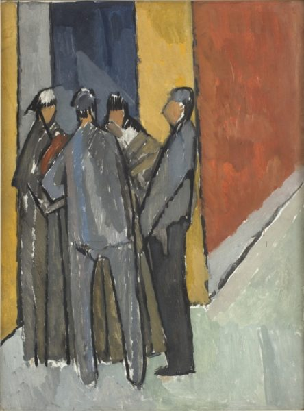 Vanessa Bell, Street Corner Conversation, c.1913, Oil on board, 69 x 52 cm, Private Collection. © The Estate of Vanessa Bell, courtesy of Henrietta Garnett. Photo credit: Colin Mills