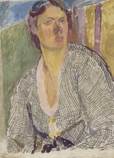 Vanessa Bell, Self–Portrait, c. 1915, Oil on canvas laid on panel, 63.8 x 45.9 cm, Yale Center for British Art, Paul Mellon Fund. 5050 - B1982.16.2 © The Estate of Vanessa Bell, courtesy of Henrietta Garnett