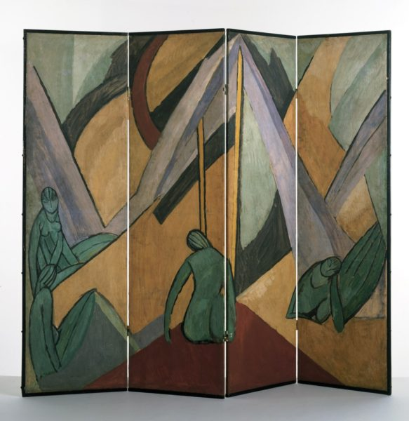 Vanessa Bell, Tents and Figures, 1913, Folding screen, distemper on paper mounted on canvas, painted softwood frame, 178.4 x 205.2 x 1.8 cm, Victoria & Albert Museum. © The Estate of Vanessa Bell, courtesy of Henrietta Garnett. Photo credit: © Victoria and Albert Museum, London.