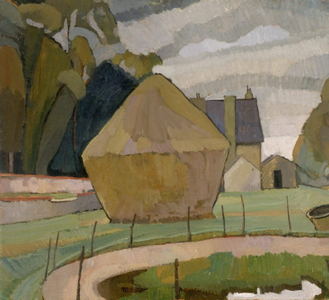 Vanessa Bell, Landscape with Haystack, Asheham, 1912, oil on canvas, board: 60.32 x 65.72 cm, Smith College Museum of Art, Northampton, Massachusetts. Purchased with the gift of Anne Holden Kieckhefer class of 1952, in honour of Ruth Chandler Holden, class of 1926. © The Estate of Vanessa Bell, courtesy of Henrietta Garnett