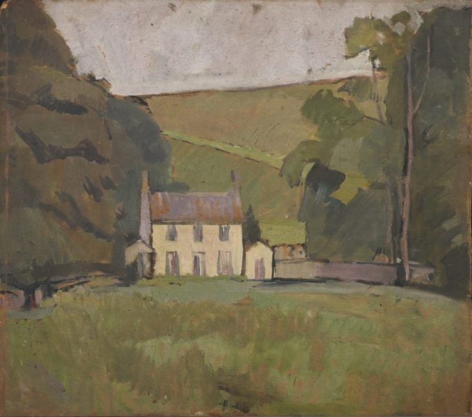 Vanessa Bell, Asheham House, 1912, Oil on board, 47 x 53.5 cm, Private Collection. © The Estate of Vanessa Bell, courtesy of Henrietta Garnett. Photo credit: Photography by Matthew Hollow