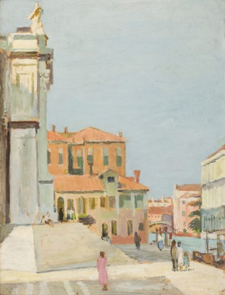 Vanessa Bell, On the Steps of Santa Maria Salute, Venice, 1948, Oil on canvas, 49 x 36.5 cm, Private Collection, U.K. © The Estate of Vanessa Bell, courtesy of Henrietta Garnett. Photo credit: The Bloomsbury Workshop