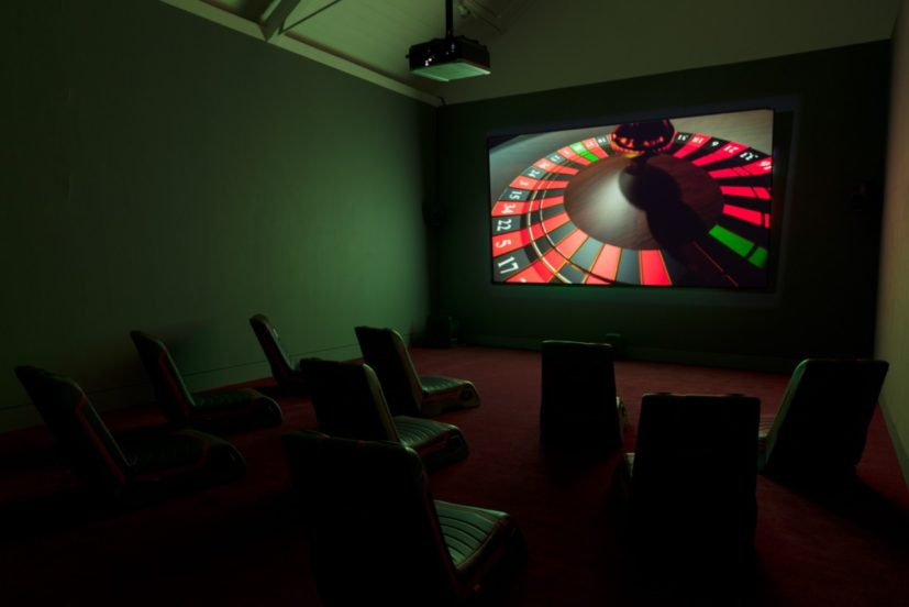 Installation view – Lawrence Lek, Geomancer, 2017. Commissioned for Jerwood/FVU Awards 2017: Neither One Thing or Another, supported by Jerwood Charitable Foundation and Film and Video Umbrella. Image: Anna Arca.