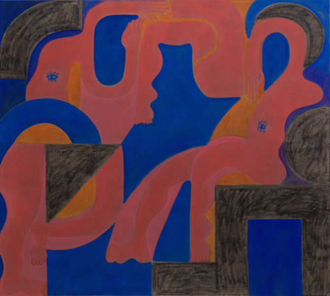 John Finneran, Dream of the Figure Dreamers, 2016. Oil and crayon on linen, 167.64 x 187.96 cm. Courtesy of the artist and 47 Canal