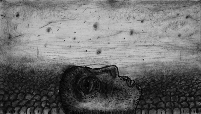 : Sadik Kwaish Alfraji Ali's Boat (2015) animation frame drawing, charcoal on paper, C. Sadik Kwaish Alfaji. Reproduced by permission of the artist.