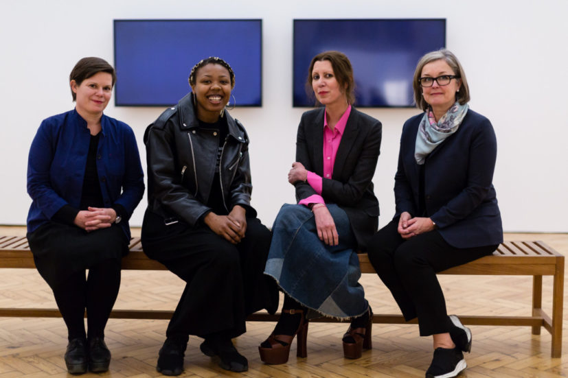 Four women behind the first VNXXCAS award, helping to address the gender imbalance in museum collections:  Sarah Brown, Curator at Leeds Art Gallery; Martine Syms, artist; Valeria Napoleone, philanthropist and collector; and Caroline Douglas, Director of the Contemporary Art Society. ® Hydar Dewachi