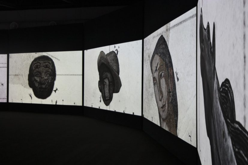 "Sadik Kwaish Alfraji Once Upon A Time: Hadiqat Al Umma (2017), 9-channel HD video with sound 8'10"" duration, installation view at Maraya Art Centre, work commissioned by Barjeel Foundation and supported by Ayyam Gallery."