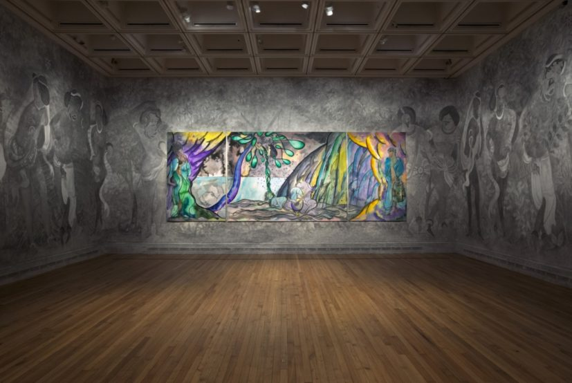 Installation view of Chris Ofili, The Caged Bird's Song, 2014–2017. Wool, cotton and viscose. Triptych, left and right panels each 280 x 184 cm; centre panel 280 x 372 cm. © Chris Ofili. Courtesy the artist and Victoria Miro, London, The Clothworkers' Company and Dovecot Tapestry Studio, Edinburgh. Photography: Gautier Deblonde