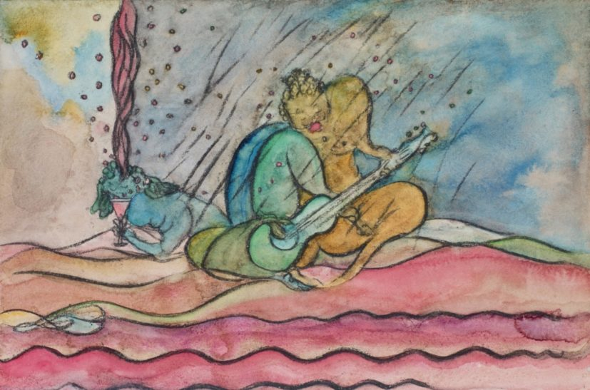 Chris Ofili, Cocktail Serenaders (Spray), 2014. Watercolour and charcoal on paper, 26.2 x 39.7 cm. © Chris Ofili, Courtesy the artist and Victoria Miro, London