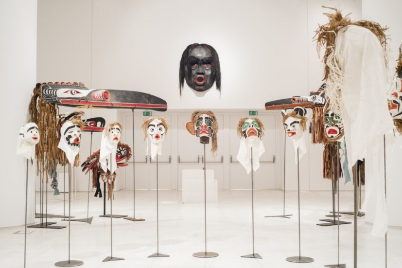 "Beau Dick, Twenty-two masks from the series ""Atlakim"", 1990–2012, various materials, installation view, EMST—National Museum of Contemporary Art, Athens, documenta 14, photo: Mathias Völzke"