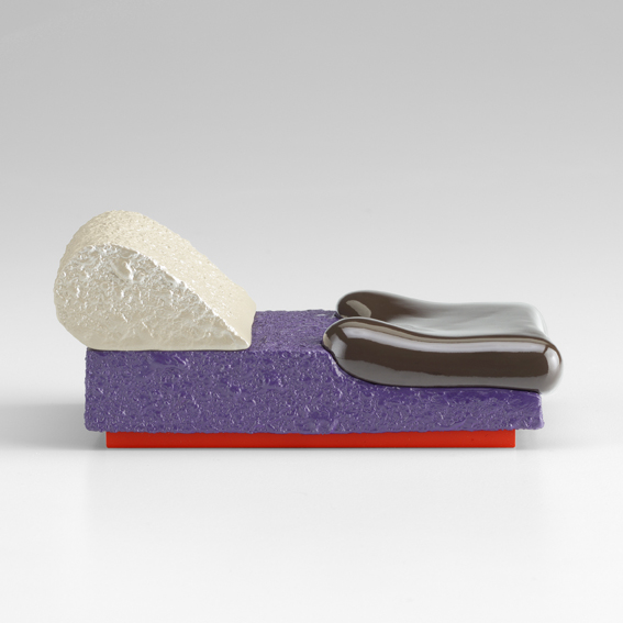 Ron Nagle, PreMaria, 2016, ceramic, catalysed polyurethane, epoxy resin, and acrylic, 5.1 x 12.1 x 7.6 cm, 2 x 4 3/4 x 3 ins. Photograph by Don Tuttle. Image copyright the artist and courtesy Stuart Shave/Modern Art, London
