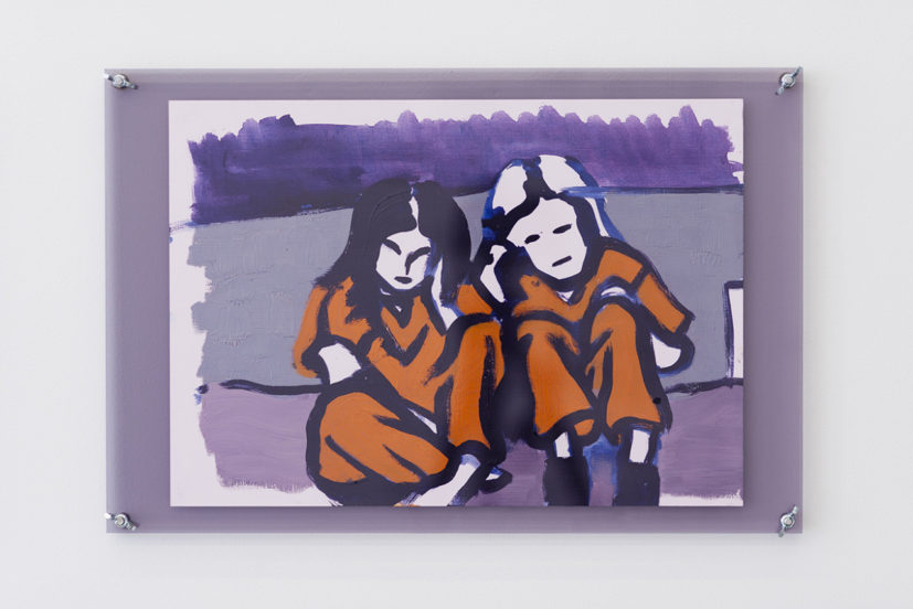 Alice May Williams, BUNK MATES, 2017. Oil on paper, coloured Perspex, M6 bolts & wingnuts, 34 x 52 cm. © Alice May Williams, photo: Cameron Leadbetter, Courtesy Tintype, London