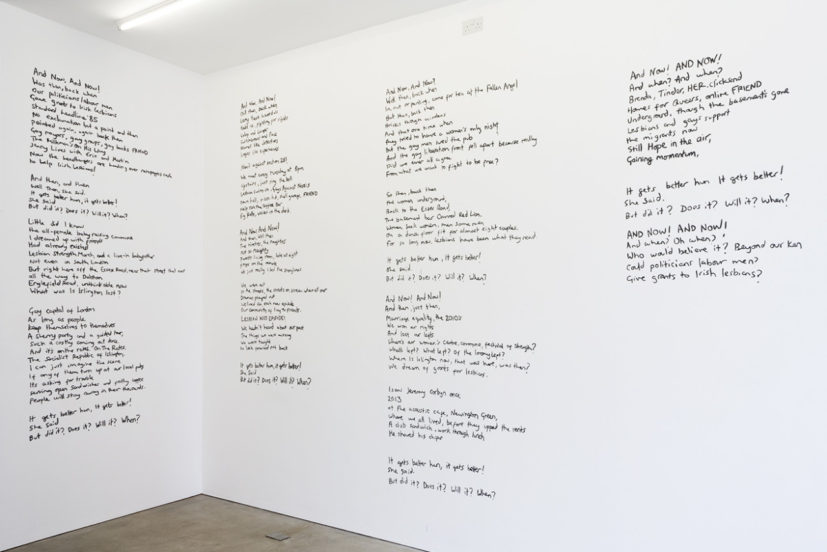 Alice May Williams, GRANTS FOR IRISH LESBIANS!, 2017. Text hand-painted on wall, 6000 x 480 cm. © Alice May Williams, photo: Cameron Leadbetter, Courtesy Tintype, London