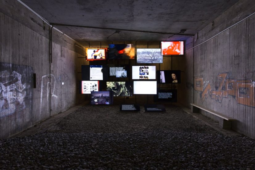 Michel Auder, The Course of Empire, 2017, fourteen-channel digital video installation, Former Underground Train Station (KulturBahnhof), Kassel, documenta 14, photo: Jasper Kettner