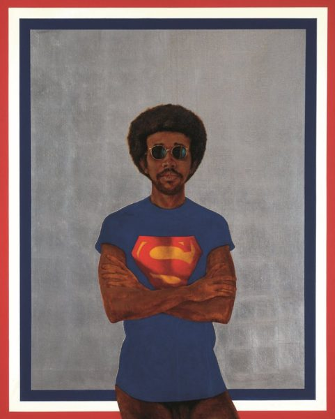 Barkley L. Hendricks, 'Icon for My Man Superman (Superman Never Saved any Black People – Bobby Seale)', 1969. Private Collection; © Estate of Barkley L. Hendricks. Courtesy of Jack Shainman Gallery, New York. Superman S-Shield © & ™ DC Comics.