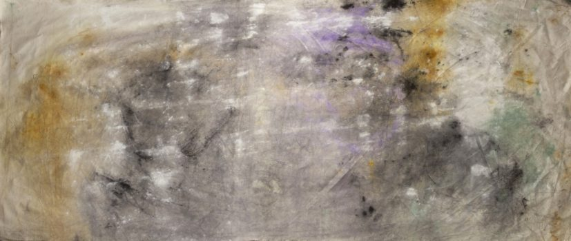 Jessica Warboys, 'Sea Painting, Birling Gap' (part 2), 2017. Mineral pigments on canvas, 1100cm x 200cm. Courtesy the artist.