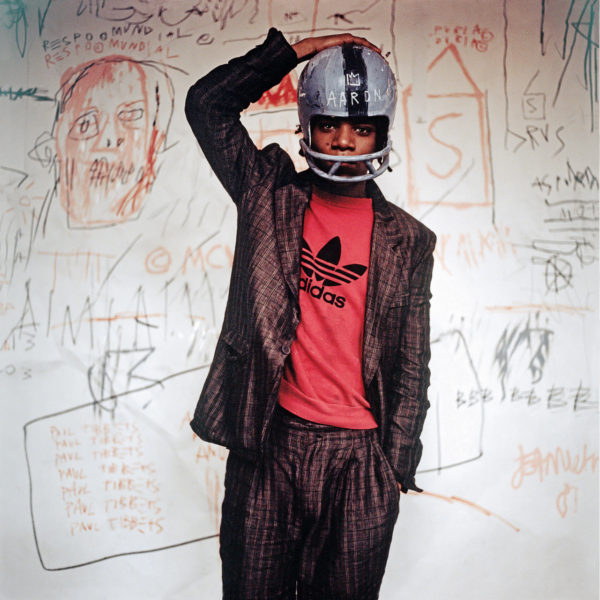Edo Bertoglio, Jean-Michel Basquiat wearing an American football helmet, 1981. Photo: © Edo Bertoglio, courtesy of Maripol.