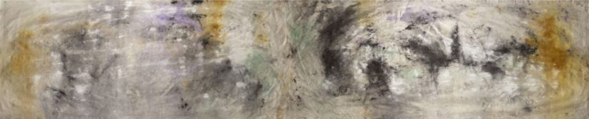 Jessica Warboys, 'Sea Painting, Birling Gap', 2017. Mineral pigments on canvas, 1100cm x 200cm. Courtesy the artist.