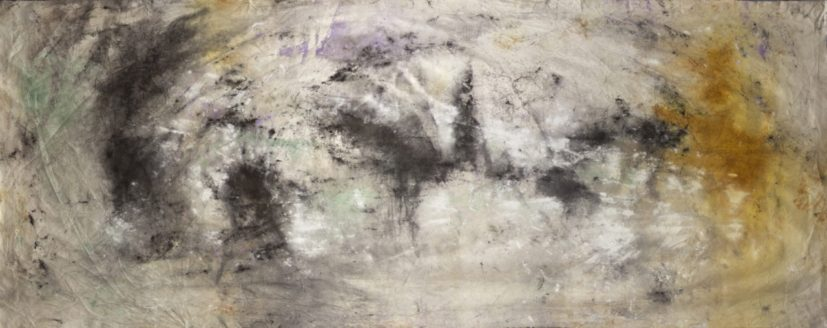 Jessica Warboys, 'Sea Painting, Birling Gap', 2017 (part 1). Mineral pigments on canvas, 1100cm x 200cm. Courtesy the artist.
