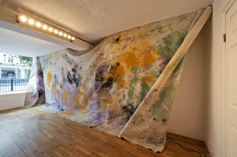 Jessica Warboys, Sea Painting, Dunwich, 2016. Pigment on canvas, 250 x 700 cm. Image courtesy French Riviera © Jessica Warboys