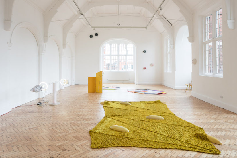 Installation view of Jennifer Tee: Let It Come Down at Camden Arts Centre, 2017. Photo: Mark Blower