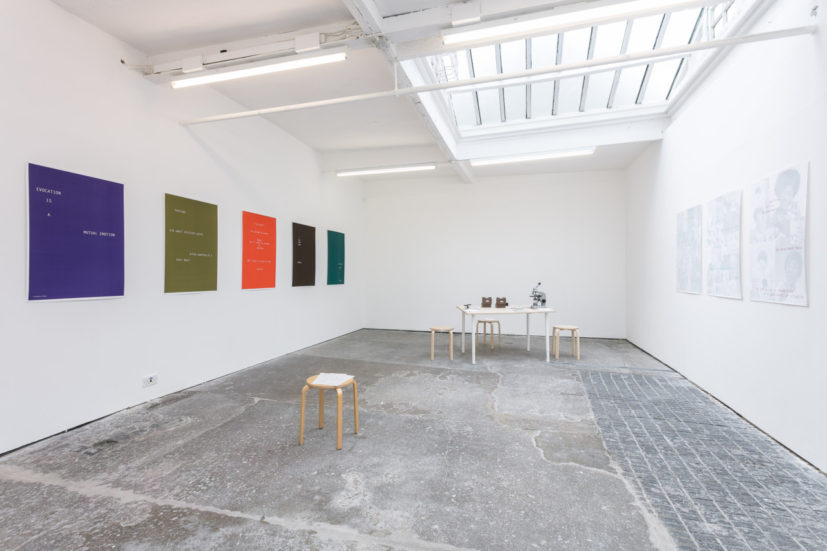 Helen Cammock Shouting in Whispers installation view, Cubitt Gallery, 2017. Photography by Mark Blower, courtesy of Cubitt Artists.
