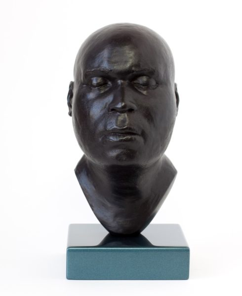 Thomas J Price, Head 18, (front), 2014, Bronze, Perspex & Automotive Spray Paint, 20x11x13 (base 3x11x11cm). Image courtesy of the Artist and Hales Gallery. Copyright the Artist.