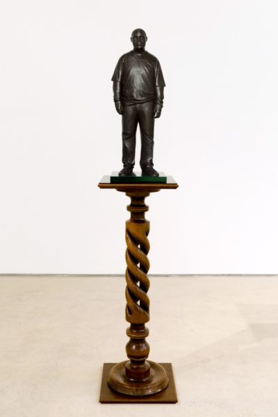 Thomas J Price, Sportswear (Achilles Street), front-small, 2011, Bronze, Perspex, 175 x 36 cm. Image courtesy of the Artist and Hales Gallery. Copyright the Artist.