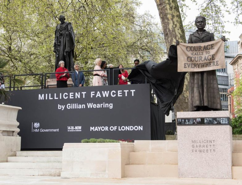 Unveiling of Gillian Wearing's Statue of Millicent Fawcett in Parliament Square, April 2018. Image courtesy of GLA/Caroline Teo