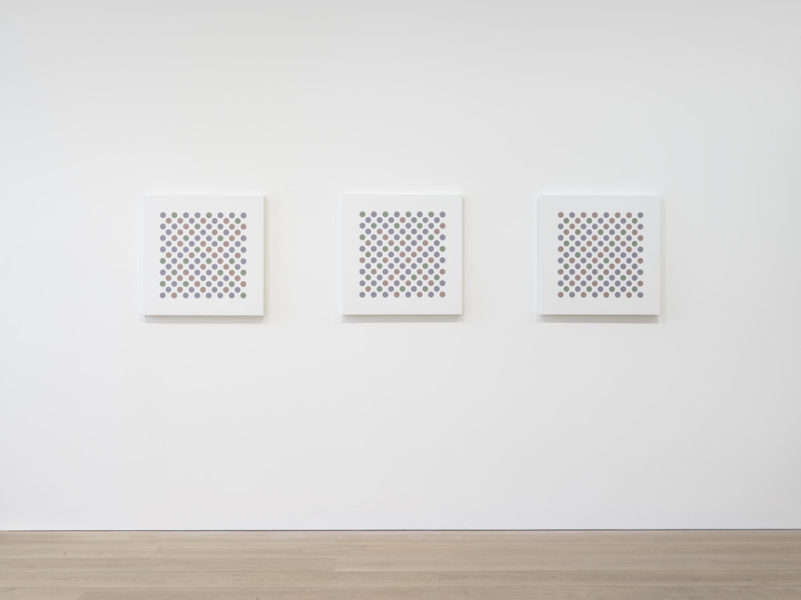 Installation shot of Bridget Riley: Recent Paintings 2014-2017 at David Zwirner. © Bridget Riley 2017, all rights reserved. Courtesy David Zwirner, New York/London