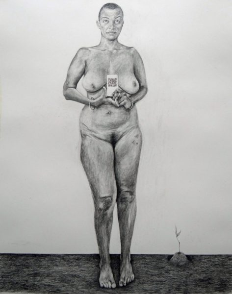 Phoebe Boswell, In Your Eyes, I Am _______, 2017, pencil on paper, 150 x 120cm. Courtesy of the artist and Tiwani Contemporary