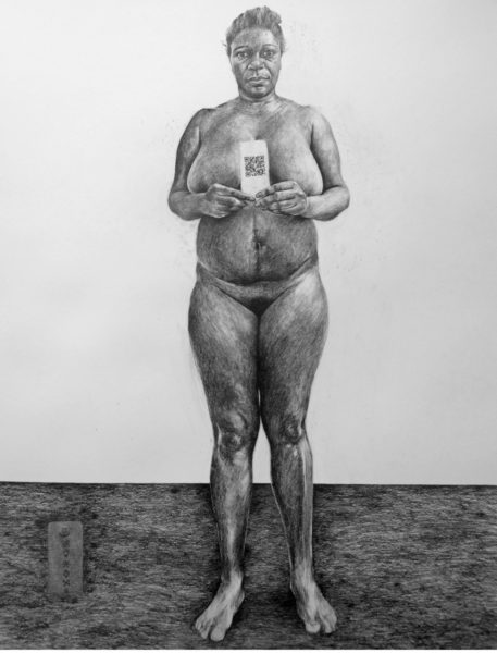 Phoebe Boswell, My Head is Too Small to Contain What I Need to Say, 2017, pencil on paper, 150 x 120cm. Courtesy of the artist and Tiwani Contemporary