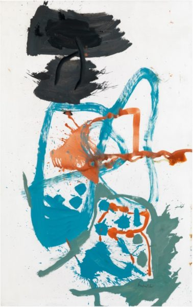 Helen Frankenthaler, Winter Figure with Black Overhead, 1959. Oil on sized primed canvas 213.4 x 134.6 cm. © Helen Frankenthaler Foundation, Inc. / ARS, NY and DACS, London 2018. Photography by Rob McKeever. Courtesy Gagosian