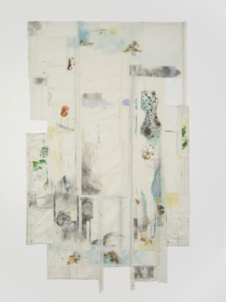 Eline McGeorge, On Joined Flight Lines 1, 2018. Cotton, watercolour, various threads, 270 x 157 cm. Courtesy of the artist and Hollybush Gardens. Photo: Andy Keate