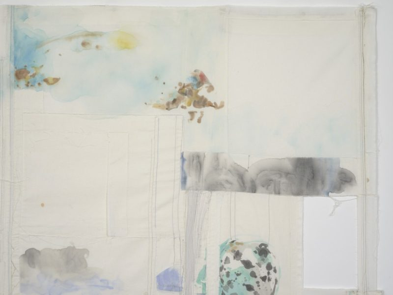 Eline McGeorge, On Joined Flight Lines 1 [detail], 2018. Cotton, watercolour, various threads, 270 x 157 cm. Courtesy of the artist and Hollybush Gardens. Photo: Andy Keate