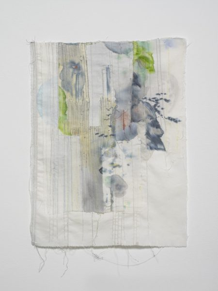 Eline McGeorge, On Joined Flight Lines 3, 2018. Cotton, watercolour, various threads, 43 x 33 cm. Courtesy of the artist and Hollybush Gardens. Photo: Andy Keate