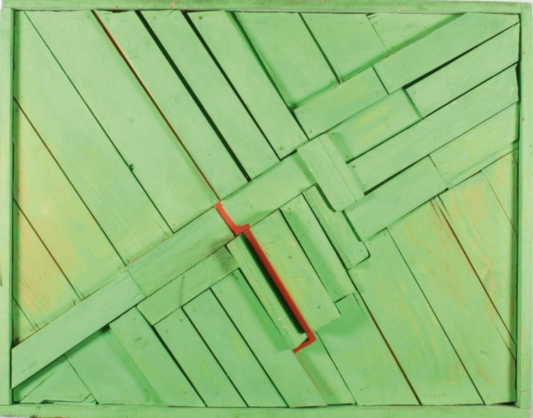 Mildred Thompson, [Woodwork], 1969, wood, nails, green paint, 90 × 103 × 6,3 cm, private collection, © The Mildred Thompson Estate, courtesy The Mildred Thompson Estate and Galerie Lelong & Co., New York