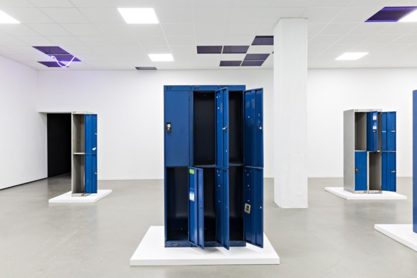 Prem Sahib, Do you care? We do, 2017. Wood, paint, twelve lockers from Chariots Shoreditch (1997-2016). Dimensions variable. Courtesy the Artist and Southard Reid. Photo credits: Fred Dott