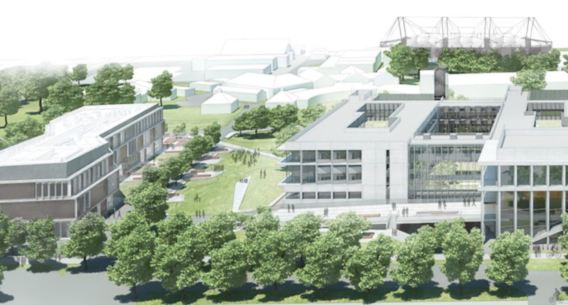 Architects drawing of Shared Facilities Hub, JJ Thomson Gardens and Cavendish III at West Cambridge. Image courtesy of Jestico and Whiles