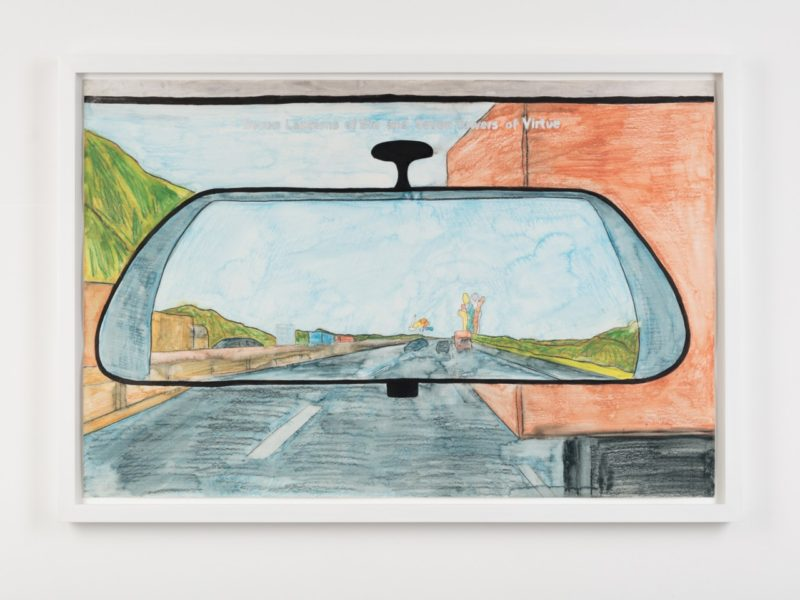 Nicholas Pope, 'The Seven Lanterns of Sin and The Seven Towers of Virtue in the rear view mirror', 1998. Mixed media on paper, 51 × 77.5 cm. Image courtesy of the artist and The Sunday Painter. Photographer: Lewis Ronald
