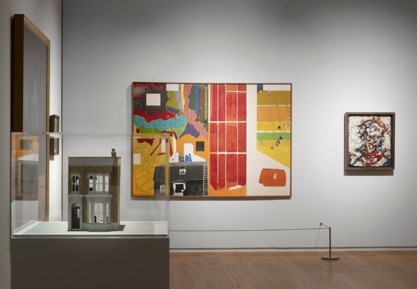 Installation view of 'Speech Acts' at Manchester Art Gallery. Works (L-R): (in vitrine) Yinka Shonibare, Untitled (Dollhouse), 2002; R.B. Kitaj, Trout for Factitious Bait, 1965; Frank Auerbach, Head of E.O.W III, 1963-64