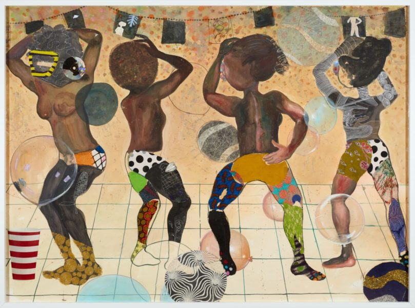 Ndidi Emefiele, The Balloon Dance, 2018. Acrylic, printed pasted papers, compact disk, printed textile and glittered mesh on paper, 210x150cm. Courtesy of the artist and Rosenfeld Porcini