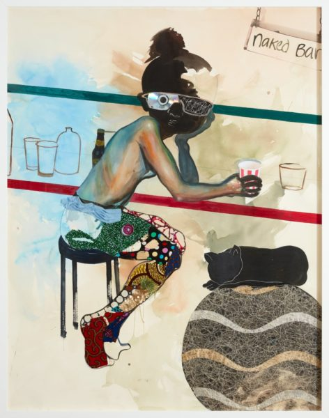 Ndidi Emefiele, Naked Bar, 2018. Acrylic, printed pasted papers, compact disk, printed textile and glittered mesh on paper, 150x120cm. Courtesy of the artist and Rosenfeld Porcini