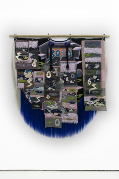 Zadie Xa, 91 Chyzanthemumz 4 Imsook, 2018. Handsewn and machine stitched assorted fabrics, mother of pearl buttons, faux fur and synthetic hair, bamboo. 165 cm x 169 cm. Courtesy of the artist and Union Pacific Gallery